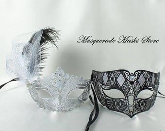 Couples Masquerade Masks, Black and Silver Masquerade Masks for Couple, His and Hers Masqurade Masks, Matching Masquerade Masks