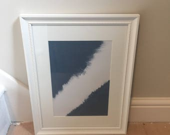 Abstract dark blue and white painting