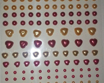 120 STICKERS RED OCHRE PEARLY BEADS