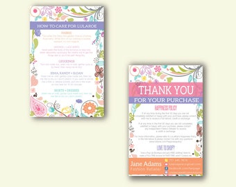 CARE INSTRUCTIONS card, Happiness Policy, Thank You Card, Fashion Consultant Card, Free Fast Personalization, Digital Files ll12