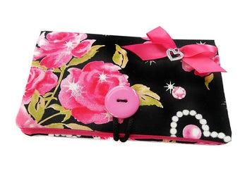 "Case smartphone cell phone ""Large pink flowers"" black diamond fabric"