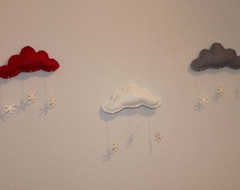 Clouds wall decor, red, white and gray