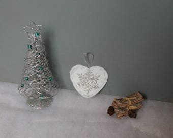 """Suspension """"beige heart"""" for Christmas tree"""