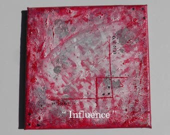 "Colorful acrylic painting entitled ""Influence"" 20 x 20 cms"