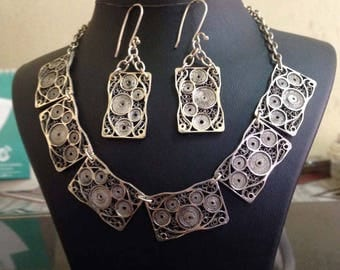 Silver filigree necklaces with earrings