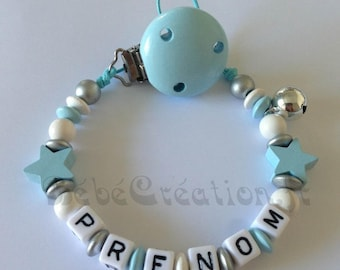 Pacifier clip personalized blue silver stars