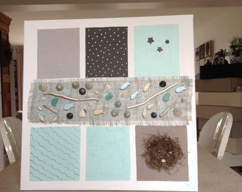 paintings depicting the sea decorative customization with pearls, shells, fish, Burlap, driftwood and other wood.