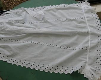 Vintage apron, apron in broderie anglaise, embroidered richelieu, vintage apron, Victorian, old maid apron.