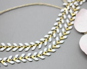 10cm of chain spike gold white enamel 7x6mm SC0081004 - creating jewelry-