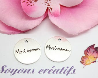 """10 charms Charm silver plated round """"Thank you MOM"""" 20 mm - creating jewelry-"""
