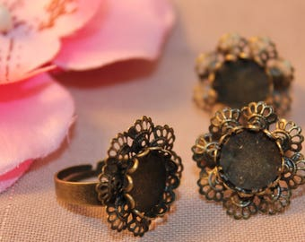 bronze flower ring Supports 10 x 12mm glass cabochon
