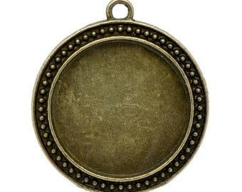 1 cabochon 30mm - SC12799 - Bronze charm pendant