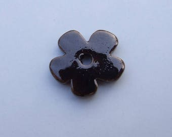FLOWER CERAMIC BROWN 24MM