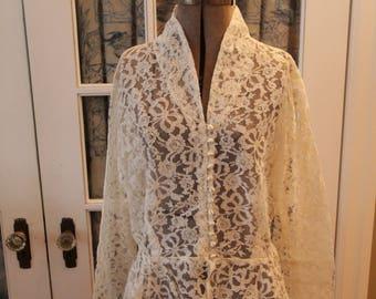 1940's Custom Made Lace Wedding Jacket