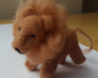 Lion, needle felted animal, felted lion, cute lion