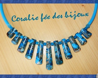 Necklace stones natural blue tones, tube blue PVC and Crystal and glass beads