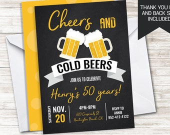Cheers And Beers Invitation Invite Digital Chalkboard Adult ANY AGE 5X7 Brewery Brews Birthday Party
