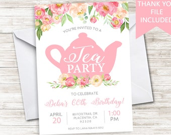 Tea Party Invitation Invite Digital Birthday Adult ANY AGE Watercolor Floral Flowers 5x7 High Tea 50th 60th 70th 80th Party