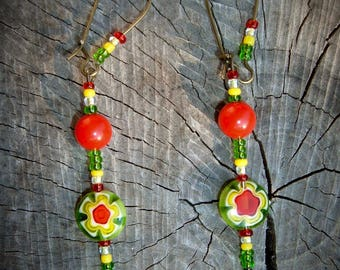 SAnta CruZ red yellow green glass beads earrings