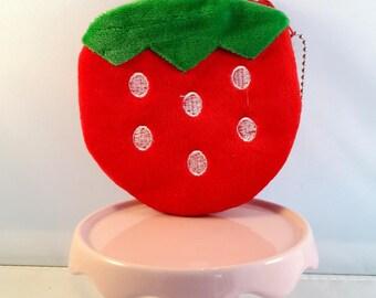 Red Strawberry felt wallet