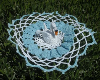 Doily crocheted round white blue Swan 24 cm approx.