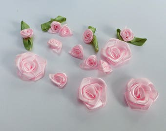 large 14 small pink satin 10 roses and 4