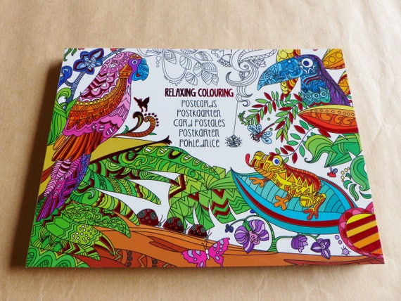 Block Of 20 Postcard Coloring Nature Book Jungle