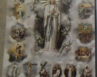 Holy picture Lady of Lourdes mysteries of the Rosary is 11.5 cm x 6,5 cm