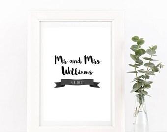 Wedding Date/Anniversary Personalised Print/Gift