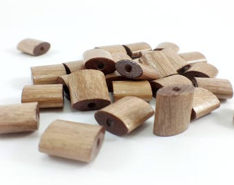 Set of 10 clear 12mm Brown wood beads
