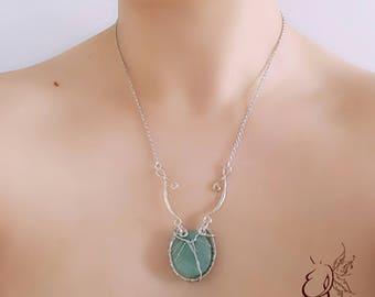 Necklace pendant/amazonite/amazonite stone crimp/stone surrounded by copper/silver Silver Amulet/pendant/green thread/necklace