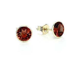 14K Yellow Gold Handmade Gemstone Stud Earrings With 5 MM Round Garnet Gemstones