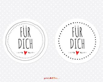 24x Sticker for you black and white with red heart