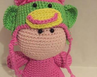 Crochet Amigurumi Pink Rainbow Monkey Doll