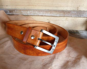 """tan"" aged look leather belt"