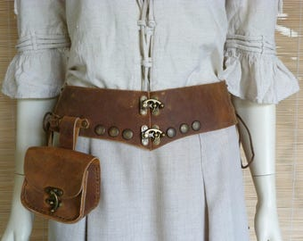 Aged with satchel Brown waist cincher belt
