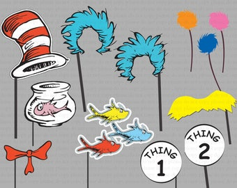 INSTANT DL- Dr seuss Photo Booth Props Set- Printable Birthday party Package