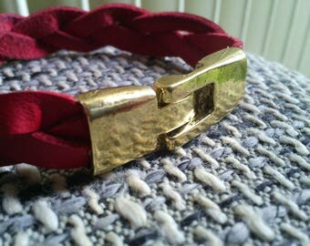 1 large clasps bracelet 35 x 12 mm brass antique gold