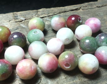 ☆ 30 agate beads / 6 mm/mixed color / tone floral ☆