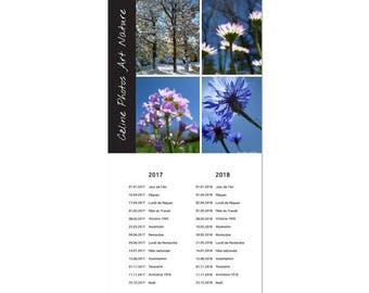 Calendrier 2017 2018 etsy for Calendrier digital mural