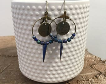 Blue and bronze earrings, glass beads blue bicone beads and sequins