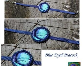 Embroidered bracelet 'Blue Eyed Peacock'