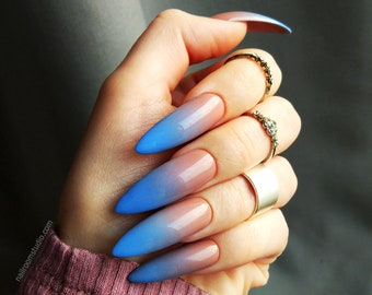 READY TO SHIP | nude blue ombre custom false nails | gel acrylic artificial glossy matte |long short square coffin almond stiletto | colors