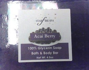 Acai Berry 100% Glycerine Handcrafted Bath & Body Soap Bar Bar