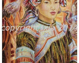 Customizable Hmong beauty aux Grues - signed art print