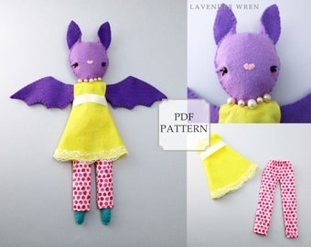 sewing pattern bat, bat doll, cute pattern, doll pattern, bat plush pdf, bat decor, bat digital, baby bat sewing, bat toy, bat plush pattern