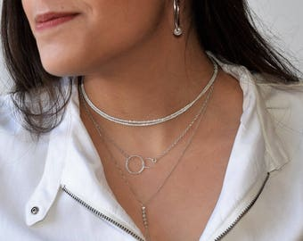 Double Circle Necklace, Sterling Silver Necklace, Silver Circle Necklace, Dainty Necklace, Layering Necklace,Interlocking Circle Necklace