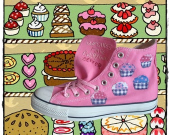 Cup Cake Kawaii Style Teen Girl Gift Converse All Star High Tops Hand Stitched with Fabric Applique