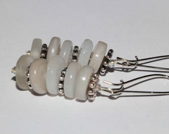 Long earrings with glass beads