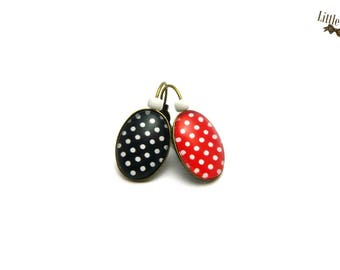 Small black and Red polka dot retro glass dome earrings